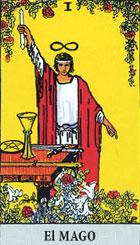Este signo dual revela que todas las cosas se derivan de lo alto para alcanzar su creación en la Tierra. El mago posee la facultad de utilizar los distintos objetos que tiene en la mesa para triunfar en el pensamiento, la palabra y la acción. <br><br>  Destreza, fuerza de voluntad, seguridad. (Invertida) Mal uso de las mismas, vanidad, falta de destreza, inseguridad, temor.<br> Refiriéndose a la magia, la carta indica que se podrá actuar de inmediato para poder obtener los resultados deseados. <br><br> Derecha: Todo en la figura del mago nos sugiere creatividad y originalidad, incluso la habilidad para hacer juegos de manos, es preciso improvisar constantemente, ser ágil, tener reflejos y estar en contacto con lo oculto, lo que los demás no pueden ver, por ello esta carta nos indica la posibilidad de llevar a buen fin un proyecto, la audacia necesaria para conseguir una meta, la fuerza de voluntad, la seguridad, el autocontrol, una cierta dosis de engaño para conseguir el fin propuesto. <br><br> El mago puede indicar así mismo el inicio de una actividad, la capacidad de asumir riesgos, es sin lugar a dudas un personaje elocuente, con gran vehemencia en sus palabras. <br><br>