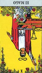Este signo dual revela que todas las cosas se derivan de lo alto para alcanzar su creación en la Tierra. El mago posee la facultad de utilizar los distintos objetos que tiene en la mesa para triunfar en el pensamiento, la palabra y la acción. <br><br>  Destreza, fuerza de voluntad, seguridad. (Invertida) Mal uso de las mismas, vanidad, falta de destreza, inseguridad, temor.<br> Refiriéndose a la magia, la carta indica que se podrá actuar de inmediato para poder obtener los resultados deseados. <br><br> El mago puede indicar así mismo el inicio de una actividad, la capacidad de asumir riesgos, es sin lugar a dudas un personaje elocuente, con gran vehemencia en sus palabras. <br><br> Invertida: El azar puede llevarnos a colocar esta carta Invertida sobre el tapete, si al descubrirla la encontramos así, deberemos pensar en un significado totalmente distinto, como la carencia de voluntad, la tendencia hacia lo destructivo, poca imaginación, escasa determinación, inquietud e inseguridad.