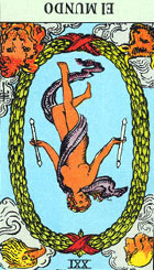 Una figura semidesnuda lleva una varita m�gica de doble extremo, que simboliza los poderes sobre los cuales domina. Sus poderes son resultado directo de todos los esfuerzos anunciados en los naipes anteriores y de la energ�a consumida en la concentraci�n consciente y subconsciente. <br><br> Es la m�s beneficiosa de todas, significa: cosmos, universo, reino de un templo ideal, totalidad, perfecci�n, ciencia, potencia espiritual y �xtasis. <br><br> Invertida: Muestra la existencia de un obst�culo en nuestro camino, un ambiente hostil, falta de concentraci�n, escasa consideraci�n social, todo ello no nos ayudara a resolverlo, con todo el obst�culo puede ser superado.