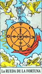 La Rueda es un c�rculo sin principio ni fin. Por consiguiente, el s�mbolo de la eternidad perpetua mantiene a las dos figuras en el movimiento constante de un universo interrumpidamente variable y de la corriente de la vida humana.   <br><br> Buena fortuna, �xito y suerte.  (Invertida) mala suerte mala fortuna. Hemos entrado en el reino de la superioridad, y el poder que podemos obtener jugando bien nuestras cartas.  <br><br> Derecha: Es dif�cil interpretar esta carta por si misma, pues tan pronto puede significar fortuna y �xito y felicidad como destino y azar, es aconsejable relacionarla con las cartas vecinas para profundizar m�s en su significaci�n. <br><br> Anuncia la resoluci�n de problemas, proximidad de sucesos inesperados y estos pueden ser favorables o desfavorables, a fin de cuentas la rueda no tiene principio ni fin, no sabemos donde termina lo bueno y donde lo malo, cambio para mejorar, para empeorar, es el destino. <br><br>