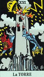 La Torre simboliza los conocimientos y creencias previos y en ocasiones, falsas premisas. El �rbol es un s�mbolo de un acontecimiento poderoso y dominador. La Torre representa un principio b�sico del pasado sometido a profundos cambios. <br><br>  Derecha: La excesiva ambici�n conduce a la ruina, en efecto, la carta quiere expresar el  advenimiento de un cambio repentino relacionado con la excesiva confianza en uno mismo, periodo de crisis y fracaso en una gesti�n, acontecimientos inesperados que destruye la confianza en nosotros mismos, perdida de afecto, rotura de relaciones con el ser querido por un exceso de arrogancia, de confianza, o un abuso de autoestima. <br><br> Adversidades, posibilidades de ser enga�ados, con todo el resurgir es siempre la opci�n del futuro. <br><br>